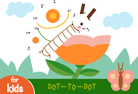 Numbers game, education dot to dot game for children, Flower meadow. The butterfly and flower. Illustration