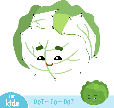 Numbers game, education dot to dot game for children, Cabbage Ilustração
