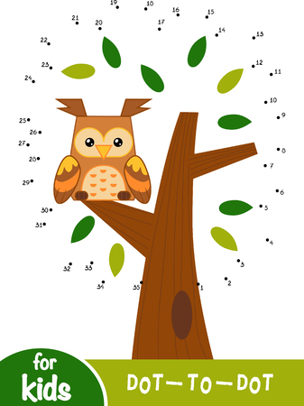 Numbers game, education dot to dot game for children, Night landscape. The owl in the tree.