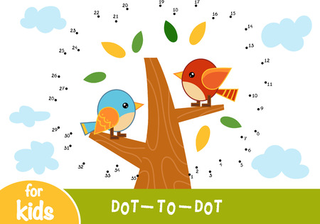 Numbers game, education dot to dot game for children, A summer day. The birds in the tree.