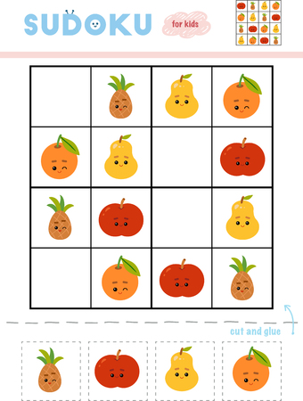 Sudoku for children, education game. Set of fruits with funny faces. Use scissors and glue to fill the missing elements Banque d'images - 116813658