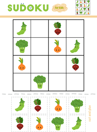 Sudoku for children, education game. Set of vegetables with funny faces. Use scissors and glue to fill the missing elements Banque d'images - 116813668