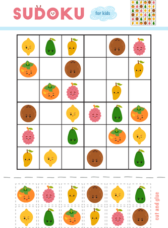 Sudoku for children, education game. Set of fruits with funny faces. Use scissors and glue to fill the missing elements Illustration