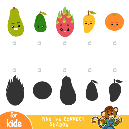 Find the correct shadow, education game for children. Set of fruits with funny faces