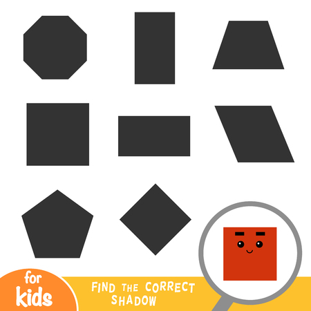 Find the correct shadow, education game for children, Square