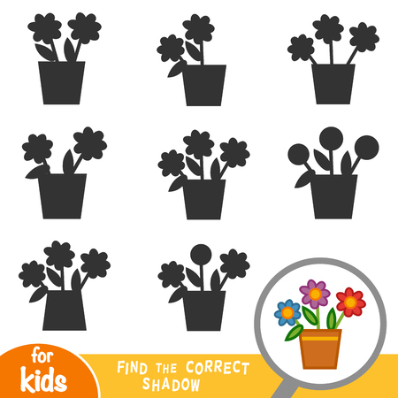 Find the correct shadow, education game for children, Flowers