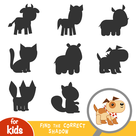 Find the correct shadow, education game for children, Dog