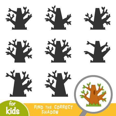 Vind de juiste schaduw, educatief spel voor kinderen, eikenboom