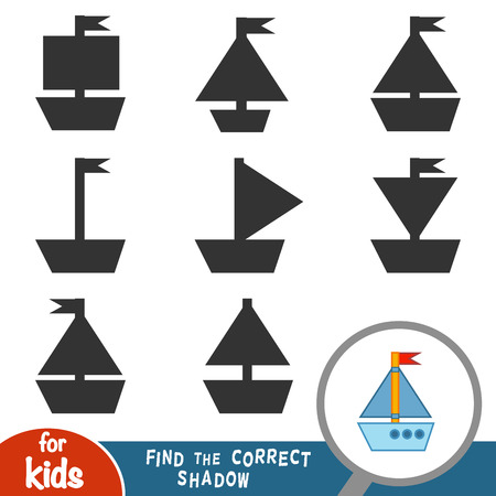 Find the correct shadow, education game for children, Yacht