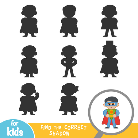 Find the correct shadow, education game for children, Superhero