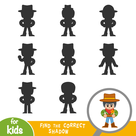 Find the correct shadow, education game for children, Sheriff Vectores