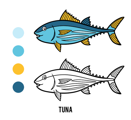 Coloring book for children, Tuna Illustration
