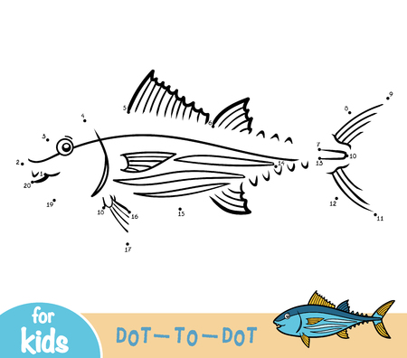 Numbers game, education dot to dot game for children, Tuna