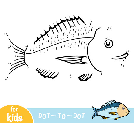 Numbers game, education dot to dot game for children, Gilt-head bream