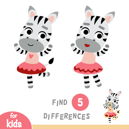 Find differences, education game for children, dancing Zebra