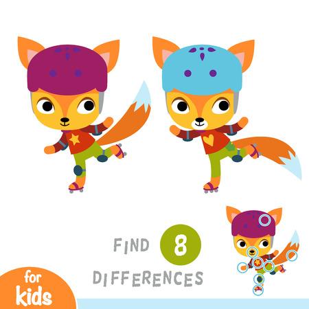 Find differences, education game for children, Fox on roller skates Illustration