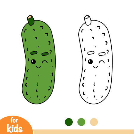Coloring book for children, Cucumber with a cute face
