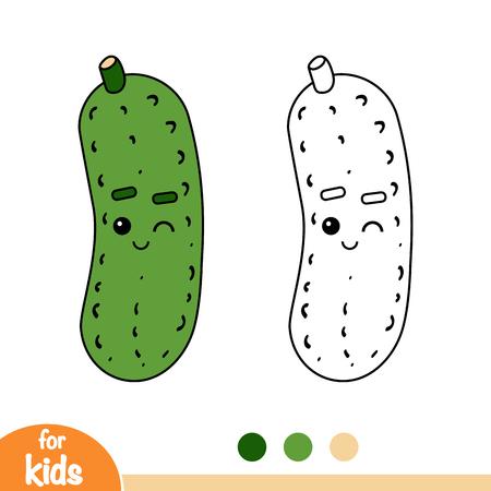 Livre de coloriage pour des enfants, concombre avec un visage mignon