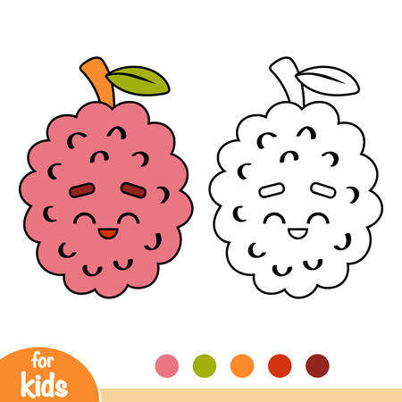 Coloring book for children, Lychee with a cute face Illustration