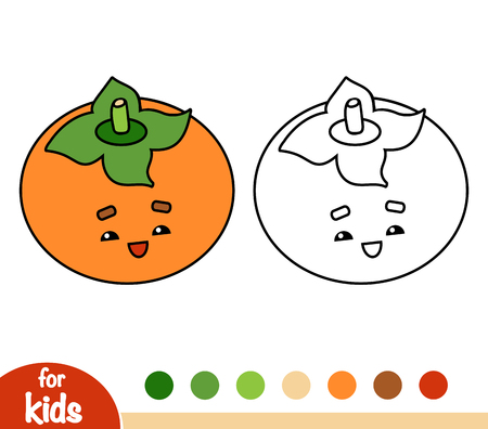 Coloring book for children, Persimmon with a cute face