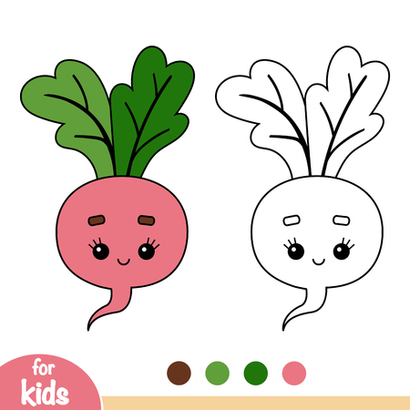 Coloring book for children, Radish with a cute face