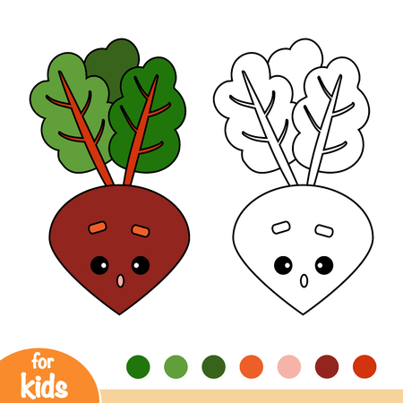 Coloring book for children, Beet with a cute face 矢量图像