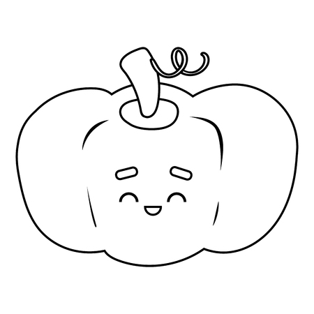 Coloring book for children, Pumpkin with a cute face 向量圖像