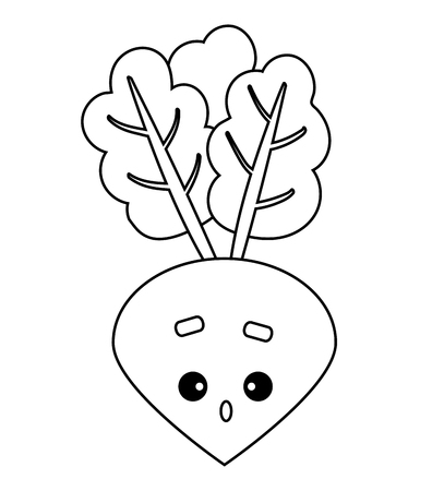 Coloring book for children, Beet with a cute face Illustration