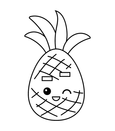 Coloring book for children, Pineapple with a cute face Ilustração