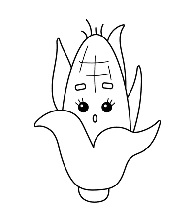 Coloring book for children, Corn with a cute face  イラスト・ベクター素材