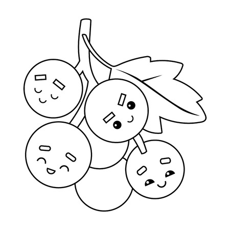 Coloring book for children, Grapes with a cute face