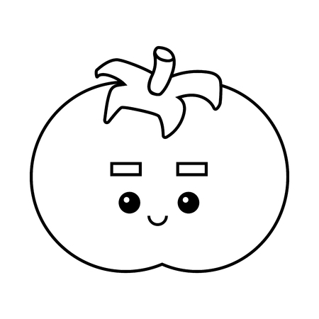 Coloring book for children, Tomato with a cute face