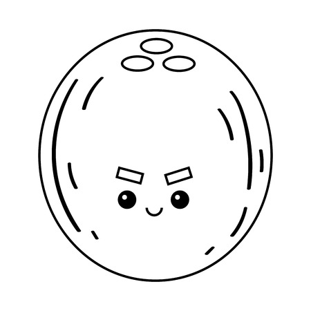 Coloring book for children, Coconut with a cute face