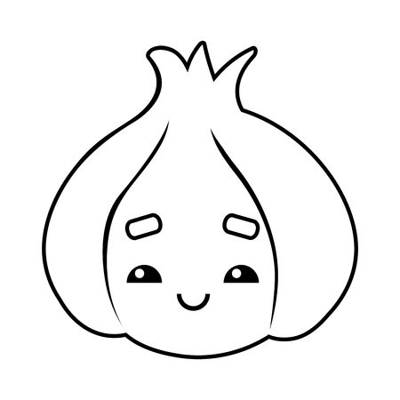 Coloring book for children, Garlic with a cute face