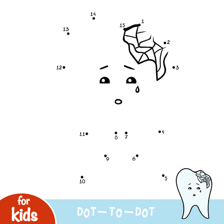 Numbers game, education dot to dot game for children, Chipped tooth