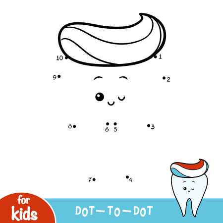 Numbers game, education dot to dot game for children, Happy tooth and Toothpaste