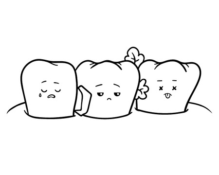 Coloring book for children, Dirty teeth Vettoriali