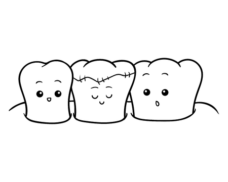 Coloring book for children, Happy treated tooth