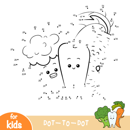 Numbers game, education dot to dot game for children, Healthy tooth and vegetables Ilustração