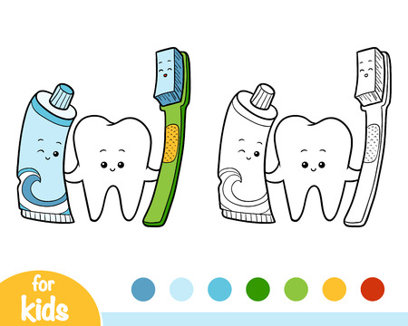 Coloring book for children, Tooth and toothbrush and toothpaste