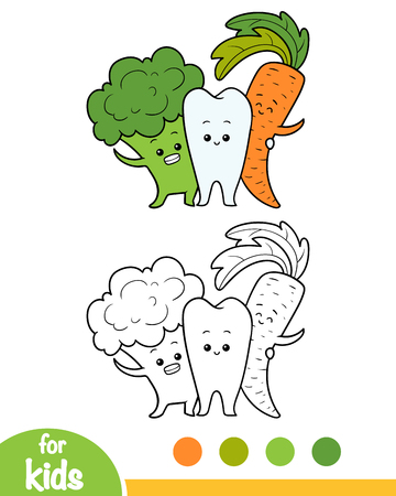 Coloring book for children, Healthy tooth and vegetables