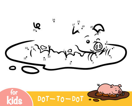 Numbers game, education dot to dot game for children, Pig