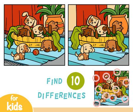 Finden Sie Unterschiede Bildungsspiel für Kinder, Sechs Hunde