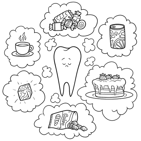 Black and white cartoon illustration. Bad food for the teeth. Educational poster for children about health