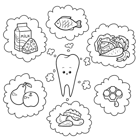 Black and white cartoon illustration. Good food for teeth. Educational poster for children about health
