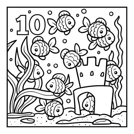 Coloring book for children, Ten fish Illustration