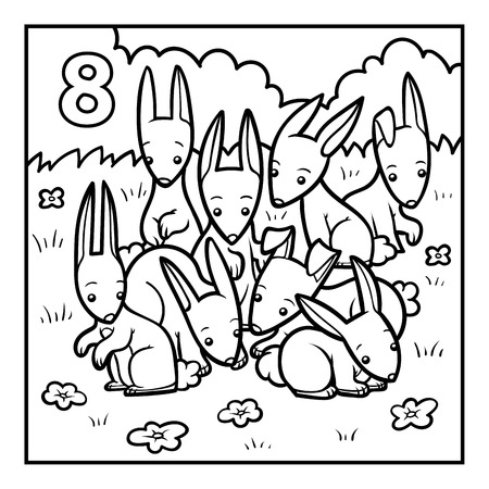 Coloring book for children, Eight rabbits