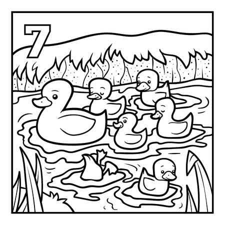 Coloring book for children, Seven ducks