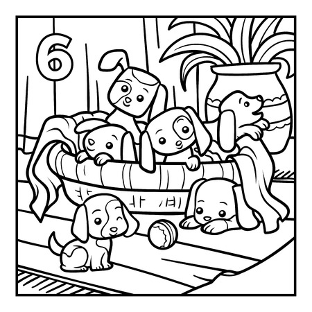 Coloring book for children, Six dogs