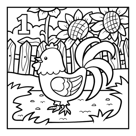 Coloring book for children, One rooster
